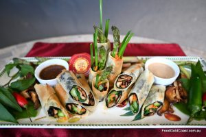 Shitake mushroom and asparagus nori rolls