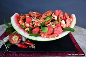 Watermelon and Prawn salad with Thai dressing